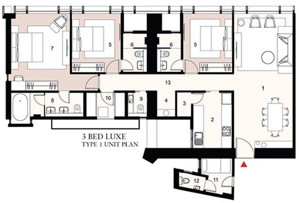 Trump Tower - 3bed 1unit Plan